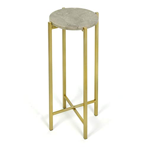 Urban Shop WK658006 Brown Marble Collapsible Side Accent Drink Table with Gold Metal Legs