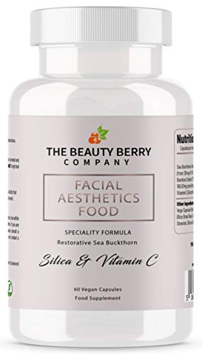 Vegan Collagen & World's 1st Skin + Facial Bone Beauty Capsules | Bamboo Silica Acne Supplement Tablets for Women | Vegetarian Berry Superfood Powder Plant Based Complex | Facial Aesthetics Food