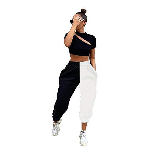Tasty Life Pantalones De Mujer, Pantalones De Chándal De Moda, Pantalones De Chándal con Costuras En Blanco Y Negro, Pierna Recta, Pantalones Casuales Elásticos De Cintura Alta