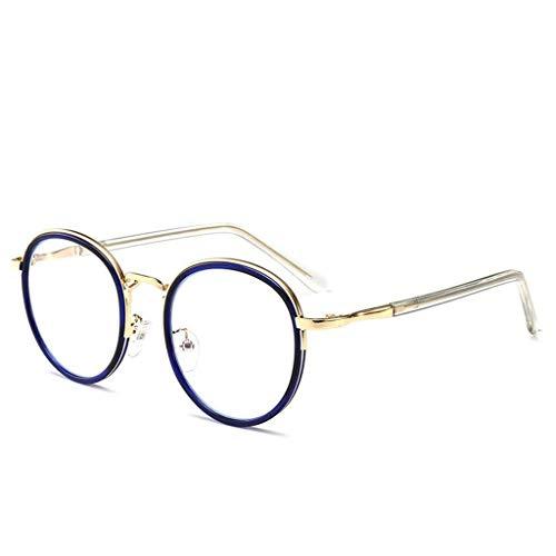 YDS SHOP Ronde bril, heren- / damesbril, metalen frame, leesbril blauw