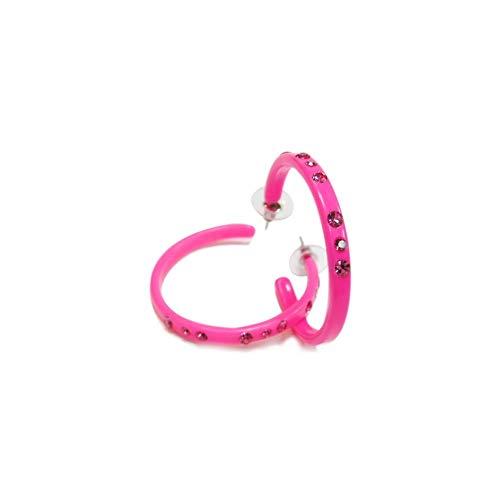rougecaramel – Pendientes de aro de plástico con pedrería, diámetro 4,5 cm, color fucsia