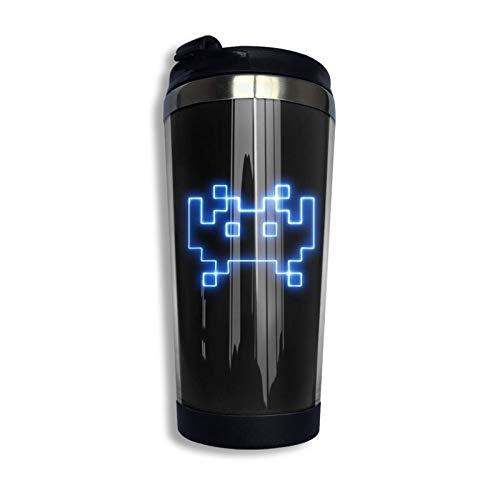 Ahdyr Taza de café de Viaje de Acero Inoxidable, Space Invaders Taza de Viaje Azul Taza de café Vaso Aislado al vacío de Acero Inoxidable 13.5 oz
