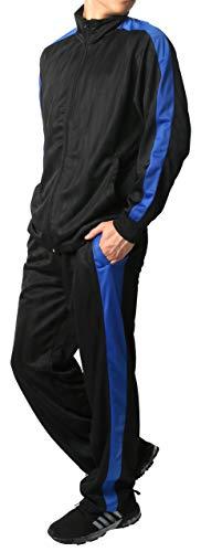 [マルカワジーンズパワージーンズバリュー] ジャージ メンズ 上下セット ランニングウェア LL 柄1(ブラック/ブルー)