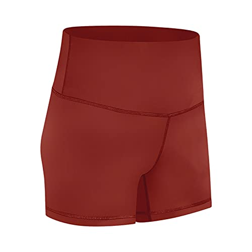 Shorts de Yoga Mujer de Cintura Alta Pantalones Deportivos Cortos Deporte al Aire Libre Respirable para Verano Fitness Yoga Correr,2,S