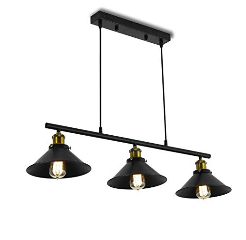 3 Lights Industrial Pendant Light, Vintage Chandelier Fixture with Matte Lamp Shade, Adjustable Rise and Fall Retro Lighting Ceiling Light for Kitchen Island Diningroom Table Billiard Table