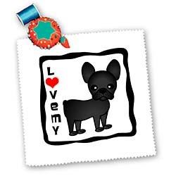 3dRose LLC I Love My French Bulldog Black Brindle 10 by 10-Inch Quilt, Square