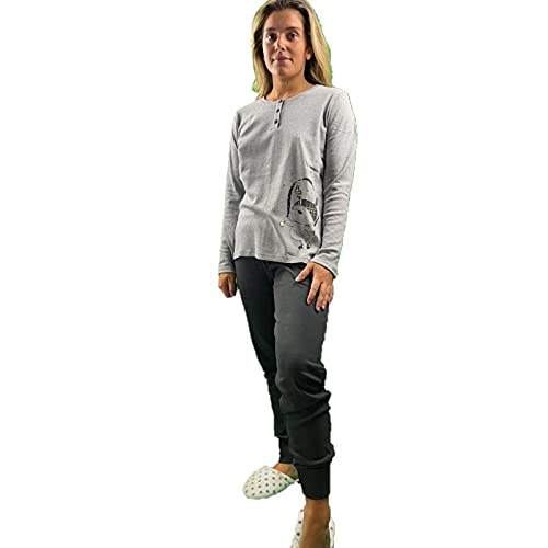 Infiore Pijama de mujer de puro algodón cálido art. DOD0561, gris, Large