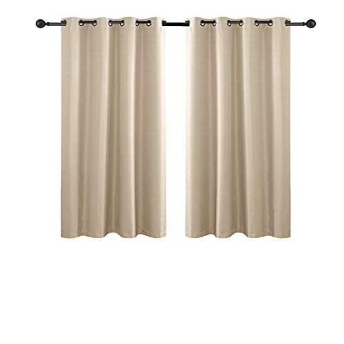 Hengda 2er Set Blickdicht Gardinen mit Ösen für Schlafzimmer Thermogardinen, Vorhang Blickdicht,175x140 cm, Beige