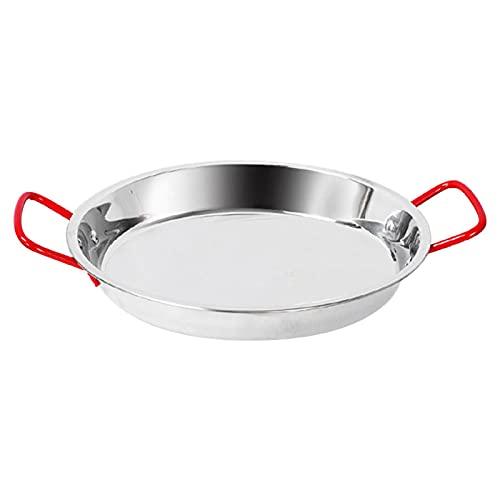 FDKJOK Paella Pan antiadherente sartén de acero inoxidable para servir al aire libre parrilla sartén de cocina con asa para el hogar cocina restaurante (tamaño: 26 cm)