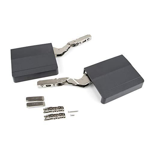 Emuca - Compas pour portes relevables, charniere porte amortisseur force 960-2.350, Acier et plastique, Gris anthracite