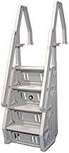 Vinyl Works Deluxe Adjustable 24 Inch in-Pool Step Ladder Entry System for Above Ground Swimming Pools, White