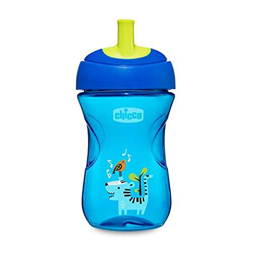 Chicco Advanced Cup Bicchiere Antigoccia per Bambini 266 ml, Tazza Biberon 12+ Mesi per Imparare a Bere, Bicchiere con Cannuccia, Beccuccio Ergonomico e Valvola Facili Sorsi, senza BPA, Blu o Azzurro