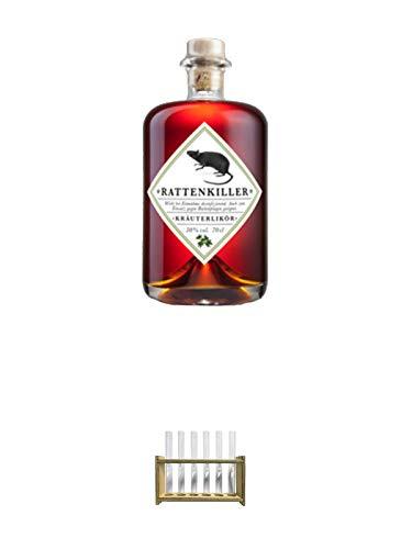 Rattenkiller Kräuterlikör 0,7 Liter + Rattenkiller Reagenzgläserset (6 leere Original Reagenzgläser + Original Halter)