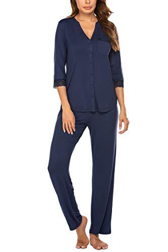 MAXMODA Damen Schlafanzug Knopfleiste Pyjama Set Lang Zweiteilige Nachtwäsche Sleepwear Schlafanzughose Set Nachtwäsche