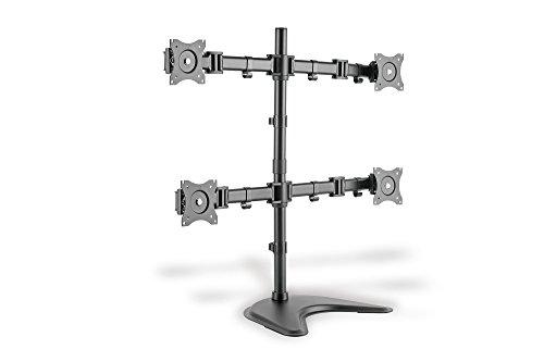 DIGITUS Soporte de monitor - Soporte - 4 monitores - Hasta 27 pulgadas - Hasta 4x 8 kg - VESA 75x75, 100x100 - Negro