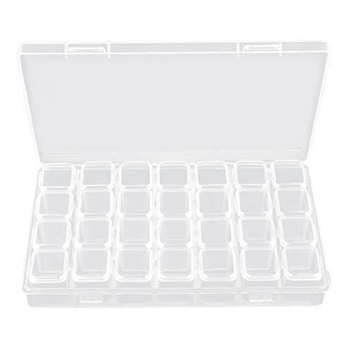 B Baosity Boîte de Stockage Petits Pots Vides Grilles à Bijoux en Plastique pour Ongles Acryliques,Charmes,Strass,poudres - 28 fentes