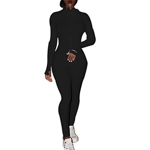 AvoDovA Women's One Piece Bodycon Jumpsuit, Sexy Long Sleeve High Waist Embroidery Zipper Romper Clubwear (A# Black, S)