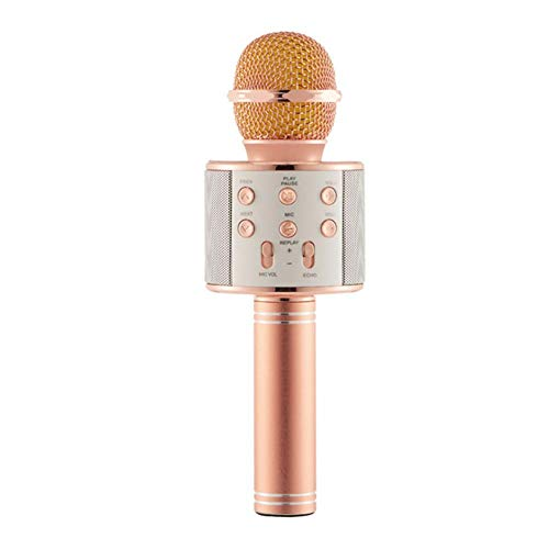 Beeria - Microfono per karaoke, wireless, Bluetooth, 4 in 1, portatile, portatile, con luci a LED, compatibile con dispositivi Android e iOS, per casa, KTV, feste, canti per bambini