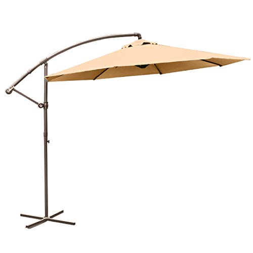 9.5Ft Patio Cantilever Offset Market Umbrella Outdoor Hanging Umbrella with Crank and Cross Base