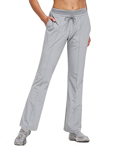 BALEAF Women's 30 Inches Bootcut Hiking Pants Quick Dry Lightweight Stretch Pants UPF 50+ Water Resistant Grey Size M
