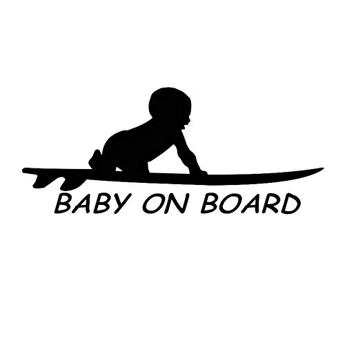 EROSPA® Auto-Aufkleber KFZ - Baby On Board - Kind mit Surfbrett - Car-Sticker (Schwarz)