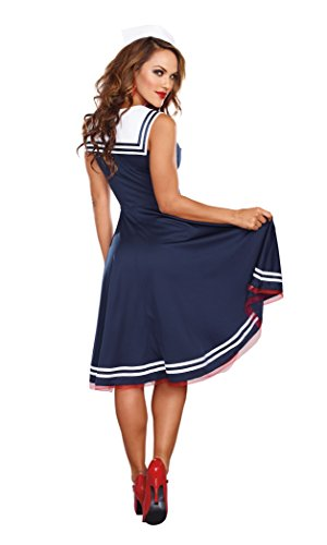 Dreamgirl Women's All Aboard Costume, Blue/White, Large