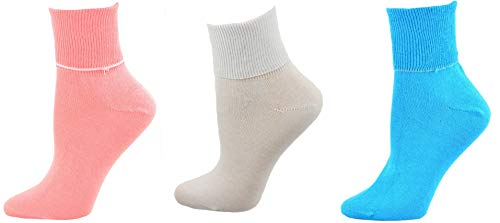 Sierra Socks Women's Diabetic 100% Cotton Ankle Turn Cuff 3 Pair Pack (9 (Fits Shoe Size 6-7), A5 (Guava/White/Turquoise)