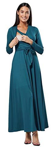 HAPPY MAMA. Para Mujer Vestido Largo premamá y de Lactancia 3/4 Mangas. 608p (Verde Botella, 38, M)
