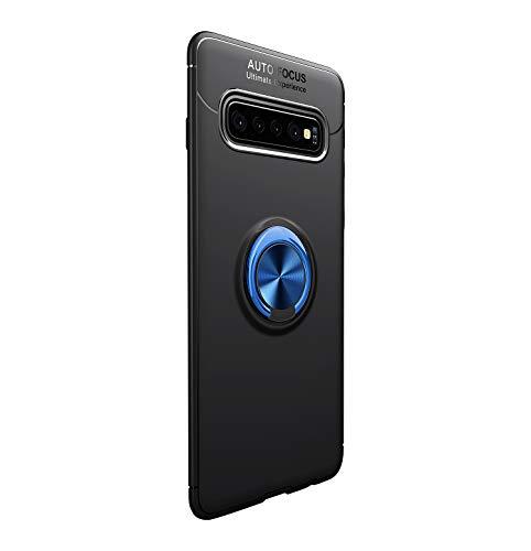 Funda para Samsun Galaxy S10/S10 Plus Teléfono Móvil Silicona Bumper Case Funda con Anillo Giratorio de 360 Grados Rotaria Ring Holder Protectora Caso(Negro + Azul, Samsung Galaxy S10 Plus)