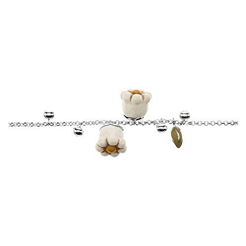 THUN ® - Bracciale - placcato in Oro con fiore'Non ti scordar di me' - Ceramica - 16 cm (+2 cm)