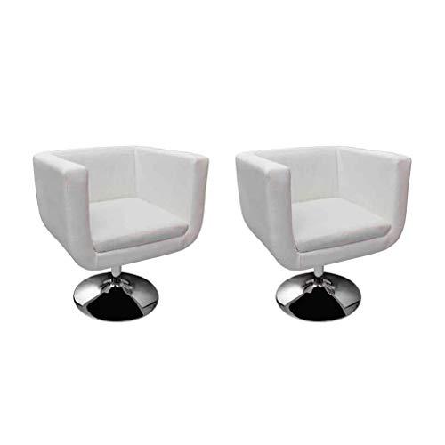 2 Stücl SET LOUNGE Sessel Ledersessel Weiß Drehstuhl Cocktailsessel
