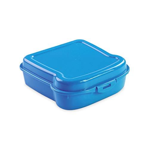 LaTienda23 Sandwichera Fiambrera de Plástico - Caja de Alimentos para Sándwiches, Bocadillos para Niños y Adultos - Ideal para Escuela, Trabajo, Oficina, Cole o Paseo al Aire Libre - Picnic (Azul)