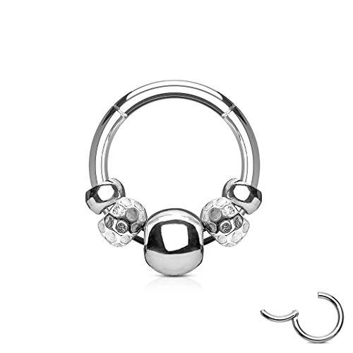 Treuheld® | segment-clicker-piercing met balletjes, helix, septum, tragus, oor, neus, lip, septumring, klapsluiting, zilver, zwart, goud, roségoud chirurgisch staal ring