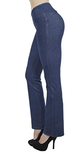 Shaping Pull On Butt Lift Push Up Yoga Pants Stretch Indigo Denim Flare Jeans in Indigo Stone Size XL
