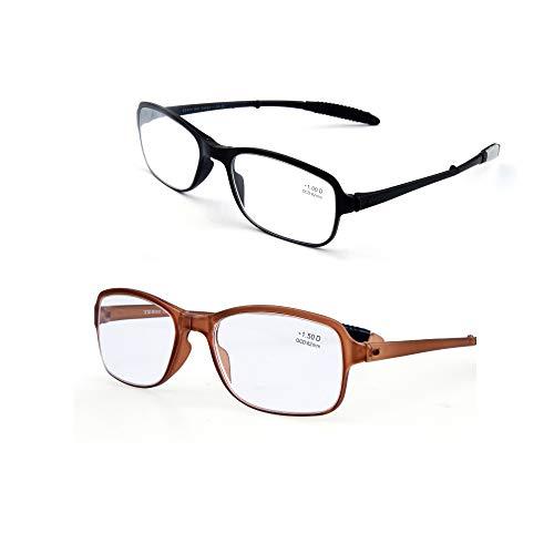 Leser Value2 Pack Federscharnier Leichte Lesebrille Mode Presbyopie Brillen Ältere Brille Mens Womens Vintage Komfortable Qualität Linsen,2.5
