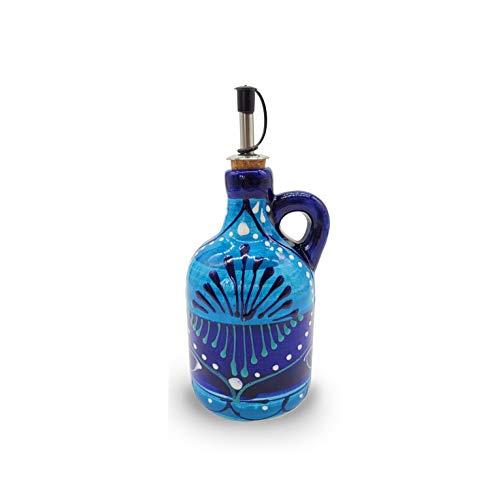 Aceitera Cerámica Pintada a Mano'Mediterráneo' | Botella Dispensadora de Aceite con Tapa de Corcho y Boquilla Antigoteo | Fabricado en España | 450 ml