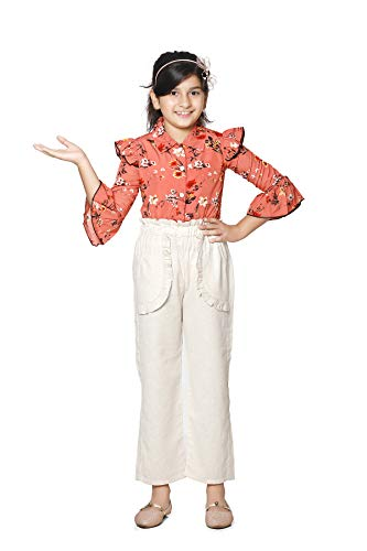 CUTIEKINS Girl's Rust Printed Top and Beige Linen Pant Set (7-8 Years )