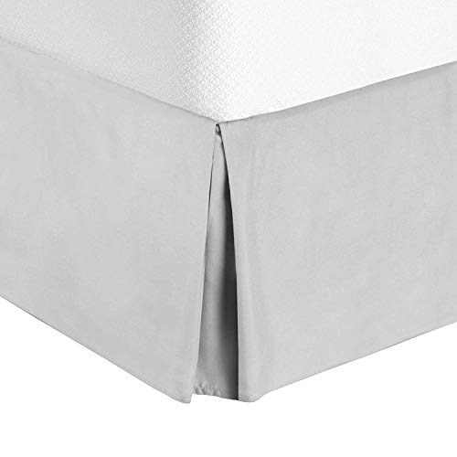 Valencia Beddings Split Corner Bed Skirt 18 Inch Drop Queen Size 100% Natural Cotton Wrinkle and Fade Resistant Queen Size, Silver Grey Solid