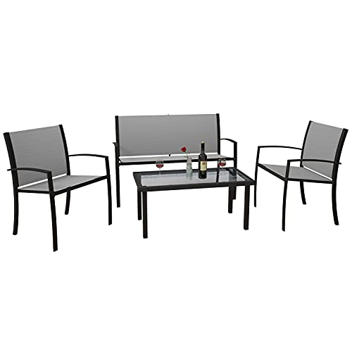 Jooli H 4 Piece Garden Furniture, Patio Set Indoor Outdoor Furniture with 2 Armchairs, 1 Double Seat Sofa and 1 Coffee Table, Grey