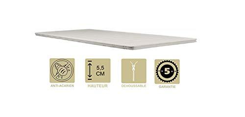 Provence Literie Surmatelas Ergonomique Hyper Moelleux Top Confort 70x190 x 5,5 cm Déhoussable Entretien Facile - Anallergique - à l'Aloe Vera