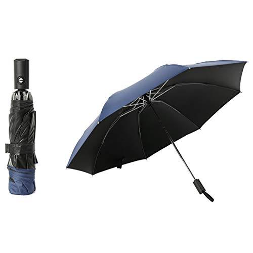 Sweet&rro17 Paraguas automático plegable automático, grande y compacto portátil para coche, interruptor automático de secado rápido con linterna LED, para día lluvioso al aire libre (azul marino)