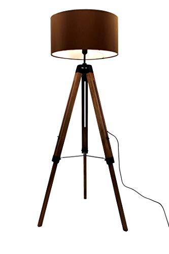 MaxxHome - Lámpara de pie con trípode de madera, casquillo E27, 40 W, altura 145 cm