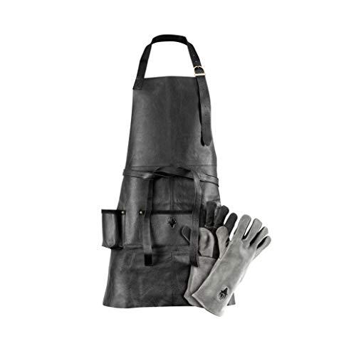 G-on Profi Grillschürze Leder schwarz Set mit Grillhandschuhen grau-schwarz I Kochschürze I Männer Geschenkbox I hochwertiges weiches Rindsleder