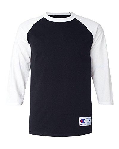 Champion Men's Raglan Baseball T-Shirt, Black/White, X-Large