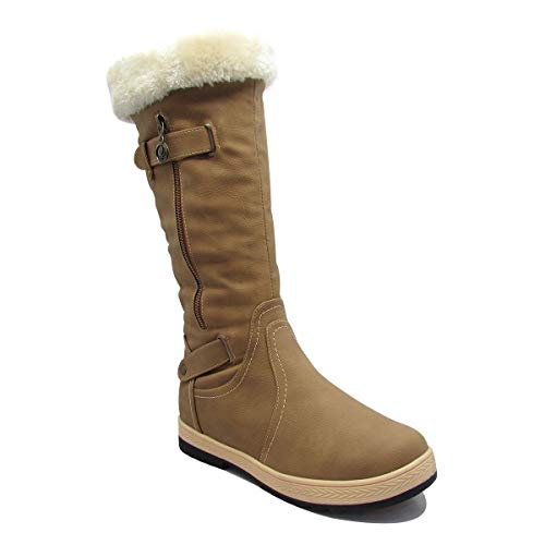 Stylish & Comfort Women's Fully Fur Lined Classic Mid-Calf Winter Boots Zipper-Up Warm Water Resistent Snow Shoes Tan 11