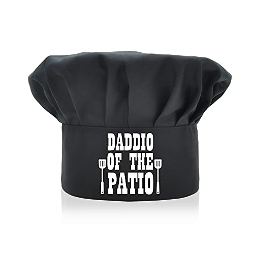 AGMdesign Daddio of The Patio Funny Chef Hat, Funny Chef Wear, Adjustable Kitchen Cooking Hat for Men & Women Black, Mother's Day/Father's Day/Birthday Gift for Him, Her, Mom, Dad, Friend