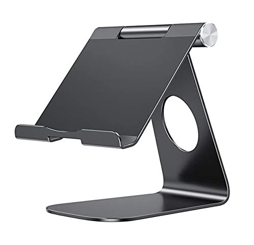 Tablet Stand Adjustable, Tablet Holder, Desktop Aluminum Stand Dock for iPad Pro12.9(2020/2018)/iPad10.2 (2019/2020), Samsung Tablet, Nintendo, E-Reader etc, Portable iPad Stand (Black)