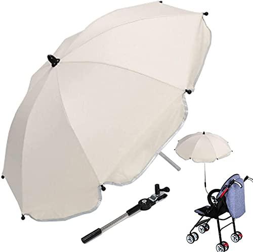 Sombrilla para Cochecito, Parasol Impermeable Universal Anti-UV para Cochecito con Abrazadera De Fijación Ajustable Y Protección Solar 50+ UV para Cochecito,Blanco