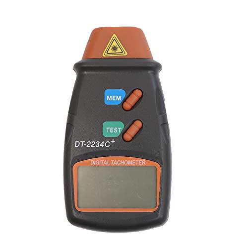 TOPWAY - Fototacómetro digital de mano con pantalla LCD; mediciones de velocidad en r.p.m. sin contacto (rango: 2,5-99 999r.p.m.) para motores, ruedas, ventiladores; con bolsa de transporte