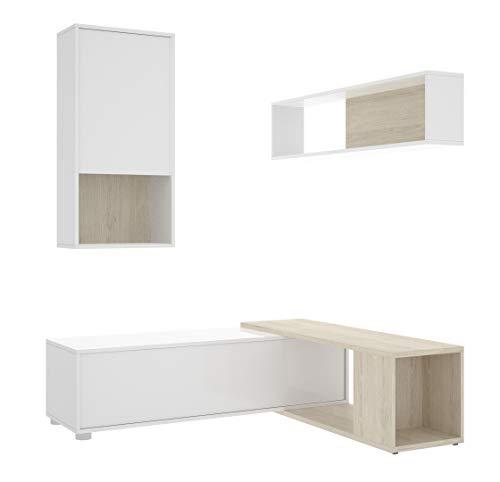 Miroytengo Mueble Salon esquinero TV OBI Moderno Comedor Color Blanco Brillo y Madera Natural 180x130x120 cm
